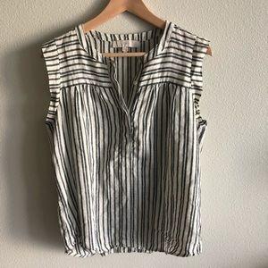 LOFT Striped Linen Tunic Top